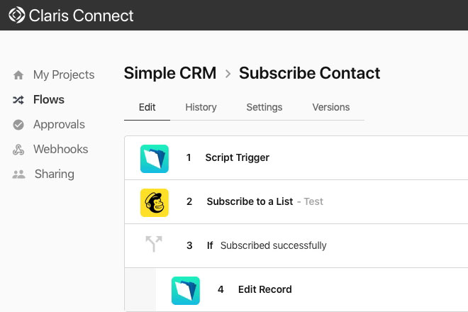Claris Connect integrates CRM with Mailchimp - Preview Image